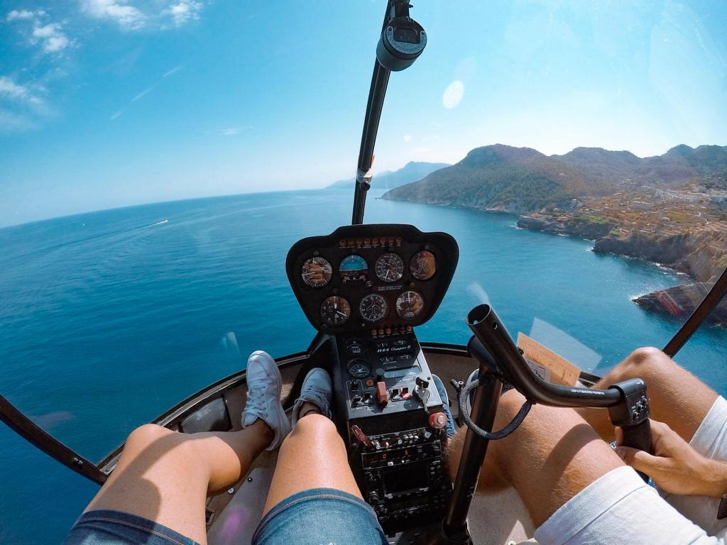 View of the Mallorcan coast from helicopter